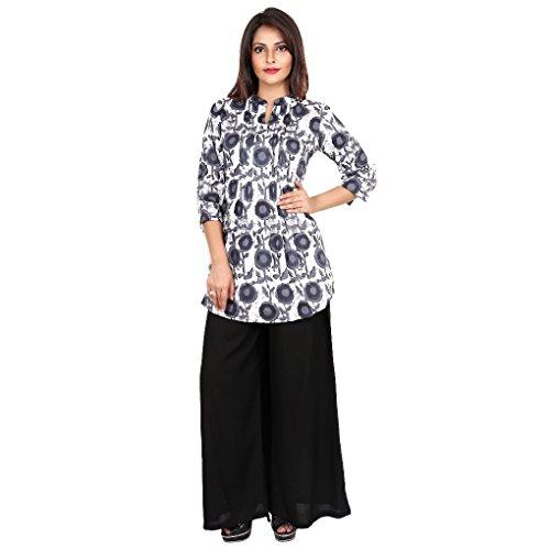 Teej Women's Multicolor Printed Cotton Kurti With Black Rayon Flared Palazzo Pant...
