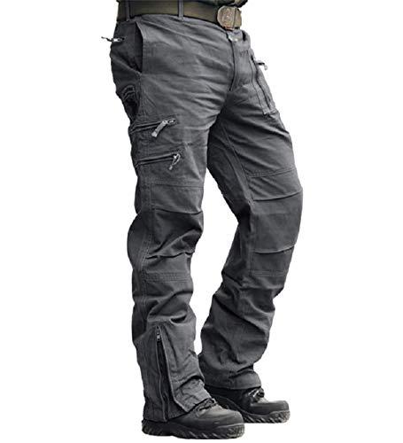 MAGCOMSEN Herren Hose Cargo Chino Wanderhose Combat Outdoor Hose Herbst Männer Trekkinghose mit Vielen Eingrifftaschen Radhose Arbeitshose Freizeithose für Angeln Reisen Grau S