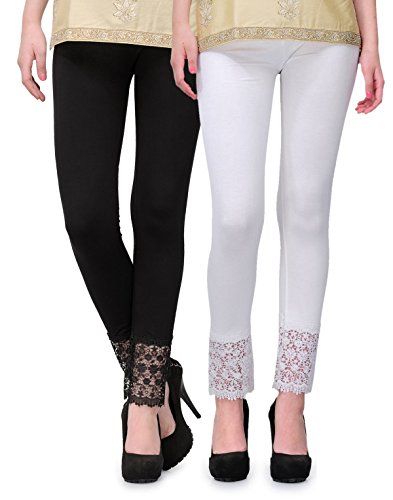 2Day Women\'s Cotton Viscose Plazzo Legging Combo Black/White-L