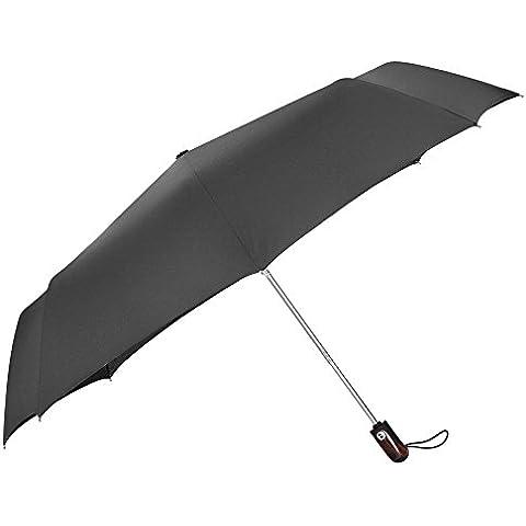 PLEMO Paraguas de Viaje Plegable Automático, 113 cm de Diámetro, Negro Clásico