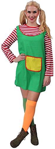 Freche Göre rot-weiß-grün-gelb für Damen | Größe 46| 1-teiliges Freche Göre Kostüm | Freche Göre Faschingskostüm für Frauen | Freche Göre für Karneval