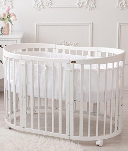 ComfortBaby ® erweiterbares Babybett Kinderbett SmartGrow 7in1 aus MASSIVHOLZ in weiss - multifunktional nutzbar als Laufstall, Beistellbett, Minibett, Stuhl und Tisch Kombination (weiss) HERGESTELLT IN EU