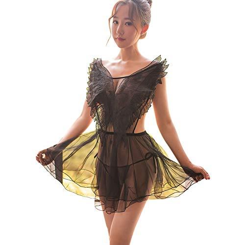 Wq zxc Sexy Dessous Mesh Perspektive nackten Rücken Kreuz Riemen Göttin Engel Flügel sexy Pyjamas - Engel Göttin Kostüm