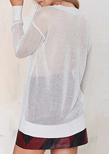 Smile YKK Sweat-shirt Blanc Femme T-shirt Sexy Col V Profond Manches Longues Casual Transparent Blanc