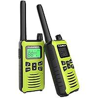 FLOUREON Walkie Talkies Toy Radio de 2 vías para Niños con 16 Canales de Larga Distancia, Interfono de Botones para el Hogar/Supermercado (1 Par, Verde Amarillo)
