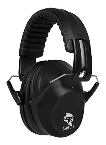 ACE SHH…! Gehörschutz Kinder und Baby | Kapselgehörschutz ab 2 Jahre mit verstellbarem Kopfbügel | Lärmschutz Kinder & Jugendliche | Kompakt, Bequem und Faltbare Gehörschutzkapsel | Verstellbare Ohrschützer - Mitwachsend | Schwarz