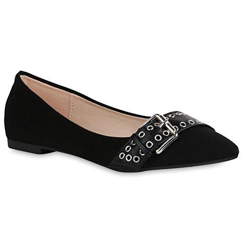 Stiefelparadies Spitze Damen Schuhe Ballerinas Klassische Slip Ons Wildleder-Optik 156534 Schwarz Bernice 38 Flandell -