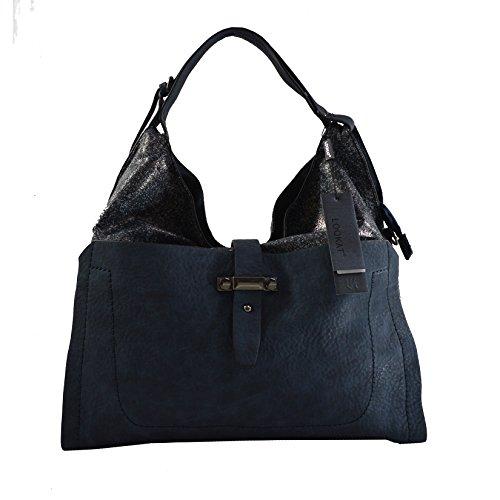 Lookat Borsa Shopper a Mano da Donna in Eco Pelle con Tracolla 41x36x10 Cm Blu