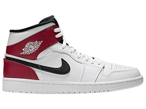 Nike Herren AIR Jordan 1 MID Hohe Sneaker, Mehrfarbig (White/Black-Gym Red 116), 44.5 EU - Hightop Nike Schuhe Herren