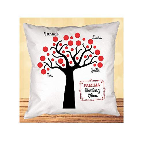 Regalo de cumpleaños Personalizable para tu Padre, Madre, Hermano, Hermana, Hijo, Hija. Cojín 'árbol Familiar' Personalizado con los Apellidos de tu Familia