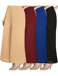 Omikka Women's Stretchy Malia Lycra Wide Leg Palazzo Pants Pack of 4 (Free Size)