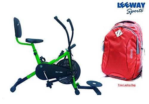 Leeway Air Bike Exercise Cycle| Moving Handle Gym bike| Deluxe Design of Crossfit Fitness| Lifeline for Cardio Work Out| Stamina BGA 2001 Bike| Dual Action Airbike with Back Rest and Twister- GREEN  available at amazon for Rs.7999