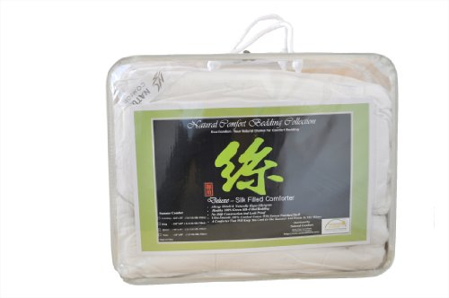 Natural Comfort Deluxe Schmusetuch aus 100% natürlicher, grüner Tussah-Seidenfüllung, für alle Jahreszeiten, Weiß California King weiß -