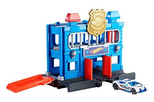 Mattel- Hot Wheels-City Escape de la estación de policía, Pistas de Coches de Juguetes niños +4 años FNB00