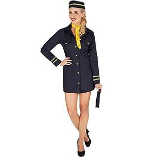 TecTake dressforfun Frauenkostüm Stewardess | Uniform inkl. Stewardessen-Hut und passendem Halstuch (XL | Nr. 301412)