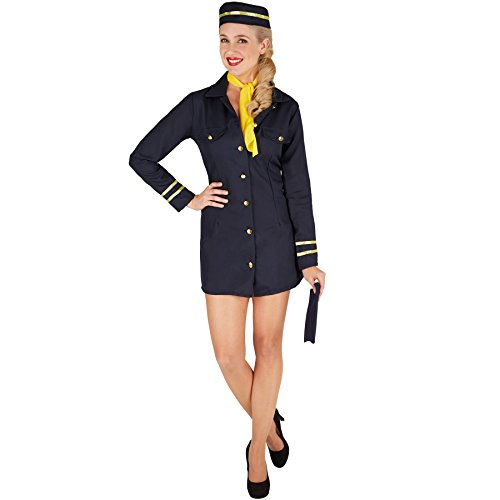 Frauenkostüm Stewardess | Uniform inkl. Stewardessen-Hut und passendem Halstuch (S | Nr. 301409) (Uniform Stewardess)