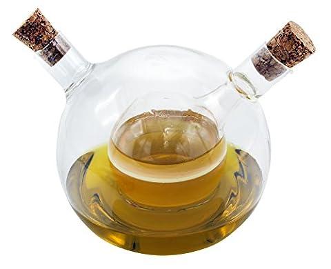 1aTTack 613833 2in1-Essig- und Öl-Spender aus Glas mundgeblasen ( 125ml-80ml ) 9,7cm