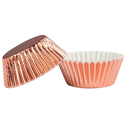 Foil Tray (Qiuliguo Baking Tray Foil Metallic Cupcake Baking Cups Thicken Safe and odorless Cupcake Liners Rose Gold)