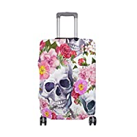 ALINLO Watercolor Sugar Skull Rose Floral Luggage Cover Baggage Suitcase Travel Protector Fit for 18-32 Inch