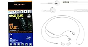 Jiyanshi Combo of Screen Guard / Screen Protector & Earphone Zip Style With Deep Bass Compatible For One Plus X