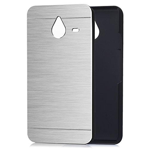 tinxi® Harte Schutzhülle für Microsoft Lumia 640 XL 5.7 Zoll Hülle Rück Schale Cover Case Schutz aus gebürstetem Stahl mit silikon Rand sowie Innenschale Silber