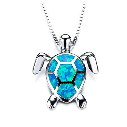 J.Memi's Halskette Damen Kette Sterling Silber 925 Blau Schildkröte Opal Synthetische Zirkonia Anhänger Blau Mädchen Muttertag Weihnacht 18 Zoll,Blue