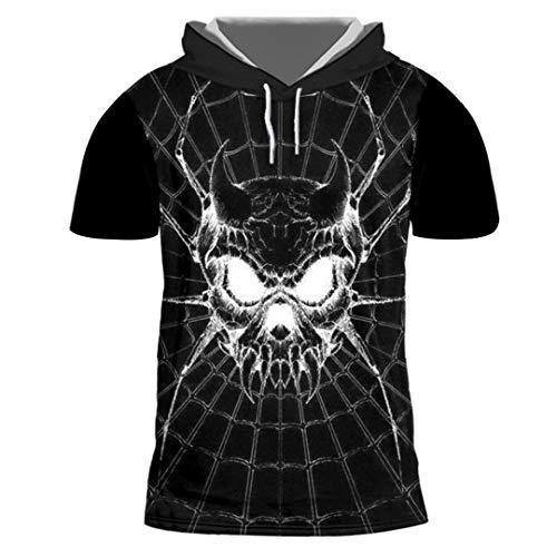 Unisex Hiphop Streetwear Punk Kurzarm Kapuzendruck Spider Skull 3D T Shirt Spider Skull XXXL