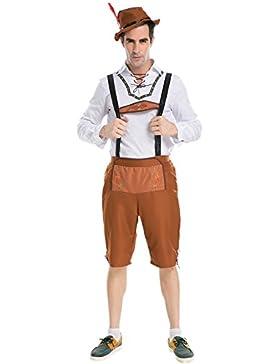 Bold Manner Herren Oktoberfest Trachtenhose Shorts Kniebund mit Träger Latzhose mit Hut