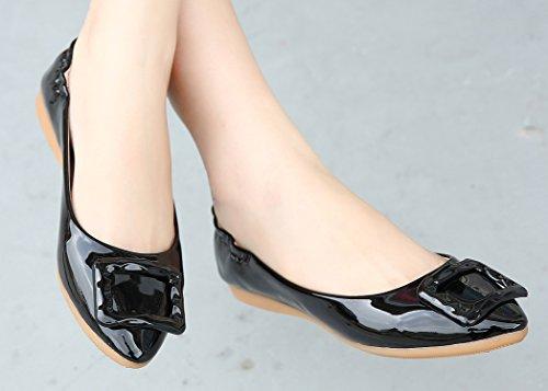 dqq Femme Élastique Talon Chaussures plates à enfiler Noir - noir
