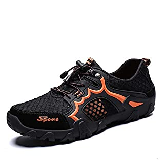HILOTU Breathable Hiking Shoes for Men Athletic Sneaker Mesh Fabric Anti Slip Mountain Climbing Waterproof Natural Soles Beach Summer Shoes (Color : Black, Size : 9.5 UK)