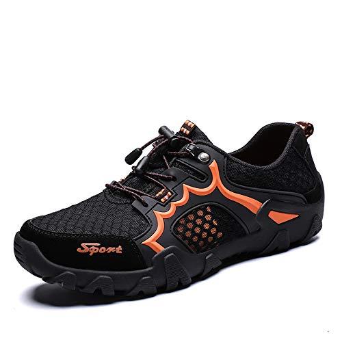 Athletic Mesh-hausschuhe (HILOTU Atmungsaktive Wanderschuhe Für Männer Athletic Sneaker Mesh Stoff Anti Slip Bergsteigen wasserdichte Natursohlen Strand Sommerschuhe (Color : Schwarz, Größe : 47 EU))