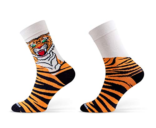 Sesto Senso® Lustige Socken Baumwolle Damen Herren 1er oder 3er Paar Wadensocken Unisex Wunderliche Seltsame Ungerade Fun Socks (43-46, Tiger)