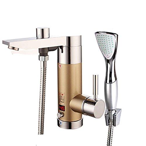BKPH Sofortiger Warmwasserhahn 220V Heizungshahn mit Duschkopf Küche Badezimmer Waschraum mit LED Digitalanzeige