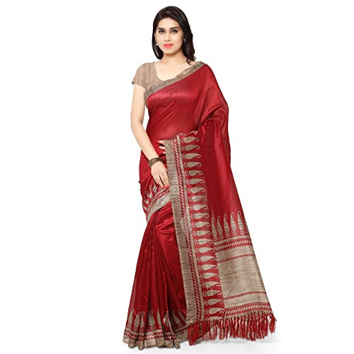 Rajnandini Women\'s Tussar Art Silk Saree (Joplnb3010, Red, Free Size)