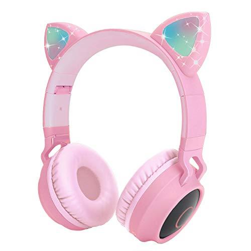 Auriculares inalámbricos para niños Yurlgst Auriculares con Oreja de Gato y luz LED (Rosa)