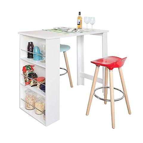 SoBuy® Bartisch, Beistelltisch, Stehtisch, Küchentheke, Küchenbartisch mit 3 Regalfächern, Tresen,