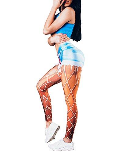 Leggings di Fitness Donna Sportivi Yoga Pantaloni Skinny Stampa Pantaloni Come Immagine