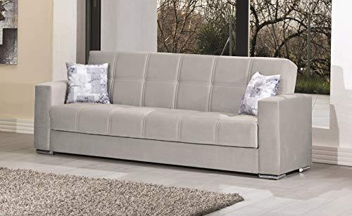 Enrico coveri contemporary divano letto 3 posti in tessuto con contenitori salvaspazio + 2 cuscini   mod. sunny (marrone)
