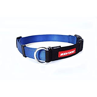 EzyDog Checkmate Martingale-Style Training and Correction Dog Collar (Medium Blue)