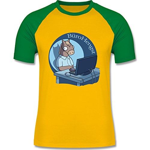 Statement Shirts - BüroHengst - zweifarbiges Baseballshirt für Männer Gelb/Grün