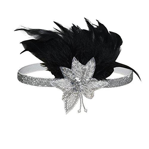 PrettyGuide Damen Kopfschmuck Art Deco Perle Feder Vintage 1920er Great Gatsby Braut Kopfband Silber