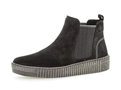 Gabor Damen Chelsea Boots 33.731, Frauen Stiefelette/Röhrli,Stiefel,Halbstiefel,Bootie,Schlupfstiefel,flach,schw./Grey(anthr.),37 EU / 4 UK
