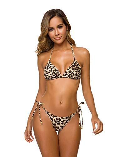 annafiiore - Bañador Italiano de Verano 2019, Bikini Triangular, Bikini para Mujer, 2 Piezas, Negro/Leopardo Leopardo Large