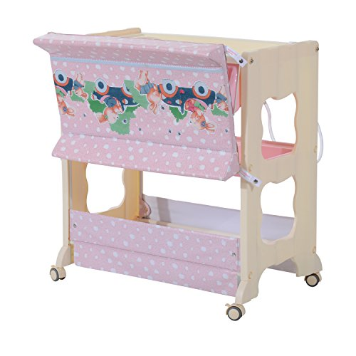 HOMCOM 3 Tier Baby Changing Table Baby Bath And Dresser W/ Wheels   Low  ...