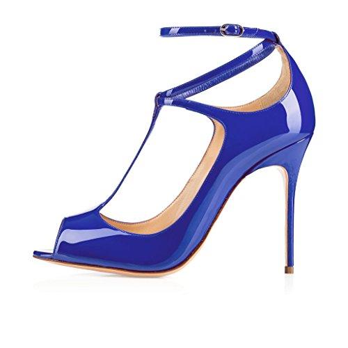 EDEFS Femmes Escarpins Talon Haut Bride Cheville Chaussures High Heel Bout Ouvert DarkBleu