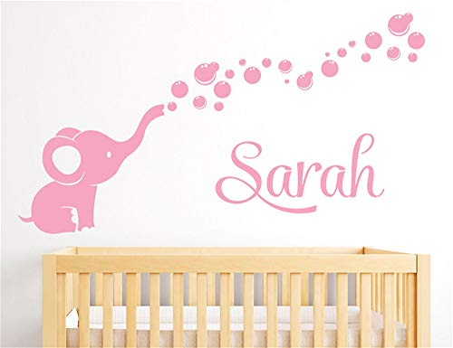 Wandtattoo Schlafzimmer Personalisierter Name niedlichen Elefanten mit Blasen für Baby Mädchen Schlafzimmer Baby Zimmer Dekor (Wandsticker Für Mädchen Disney)