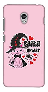 PrintHaat Designer Back Case Cover for Lenovo Vibe P1 :: Lenovo Vibe P1 Turbo :: Lenovo Vibe P1 Pro (cute spider with a lovely cat wearing a bow tie and hat :: red hearts blooming all around cat and spider :: in pink, red and black)