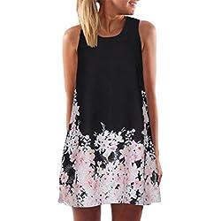 VEMOW Frauen Damen Sommer ärmellose Blume Gedruckt Tank Top Casual Schulter T-Shirt Tops Blusen Beiläufige Bluse(Y3Schwarz, EU-48/CN-2XL)