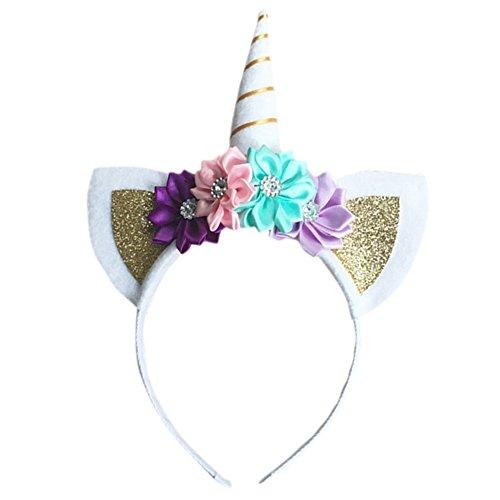 Blue Vessel Halloween Einhorn Kopfschmuck Kinder Stirnbänder Prinzessin Einhorn-Geburtstags-Party Kopf Schnalle (gold)