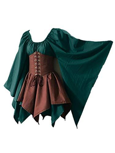 SUMTTER Karneval Kostüm Retro Mittelalter Kleid Damen Faschingskostüme Gothic Steampunk Kleidung Minikleid Halloween Weihnachten Kostüm